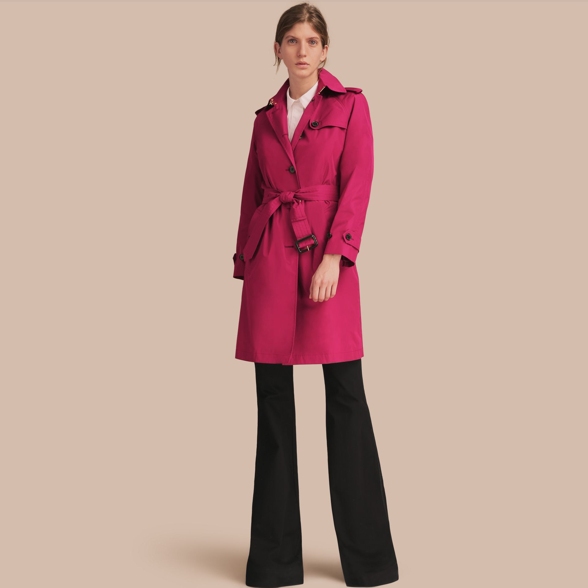 Single-breasted Technical Trench Coat Damson Magenta - gallery image 1