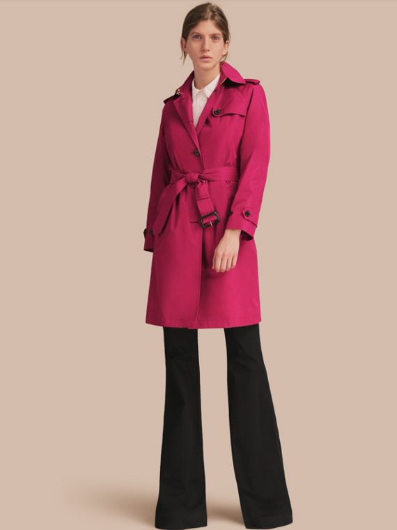 Single-breasted Technical Trench Coat Damson Magenta