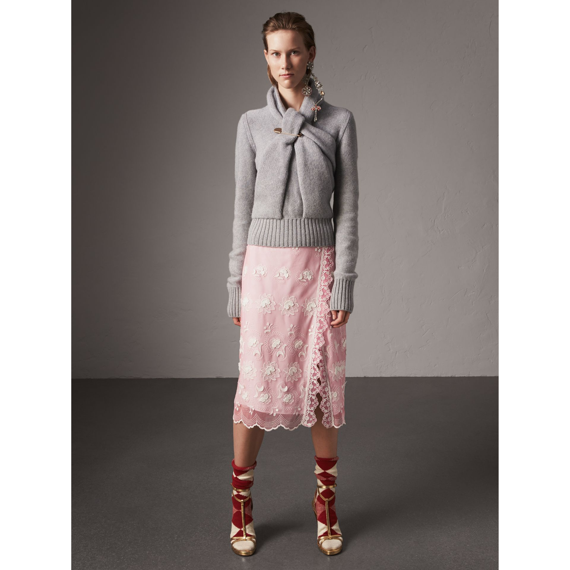 Chantilly Lace Trim Embroidered Tulle Skirt in Rose Pink/white - Women | Burberry - gallery image 4
