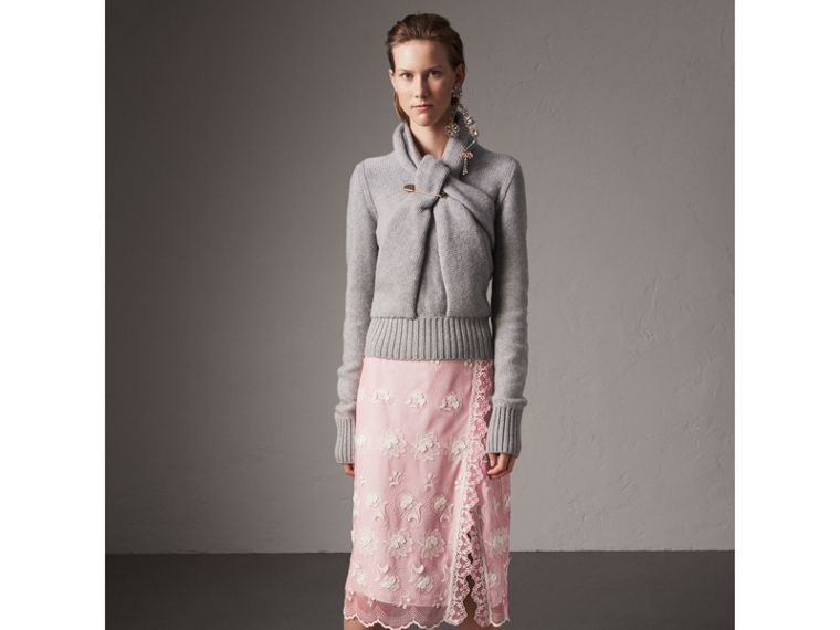 Chantilly Lace Trim Embroidered Tulle Skirt in Rose Pink/white - Women | Burberry - cell image 4