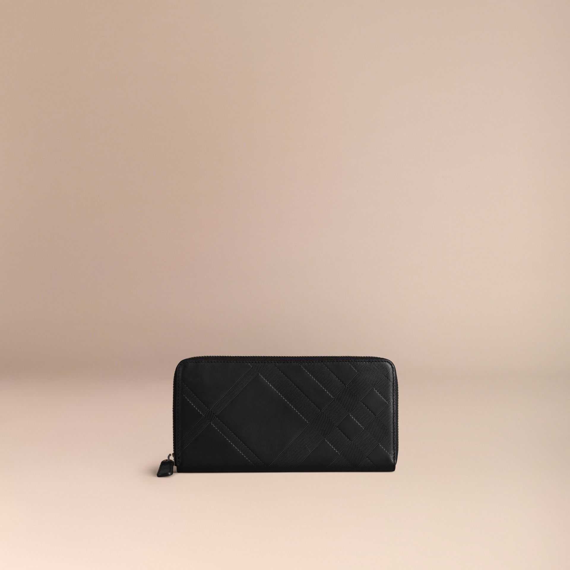 Black Check-embossed Leather Ziparound Wallet Black - gallery image 3