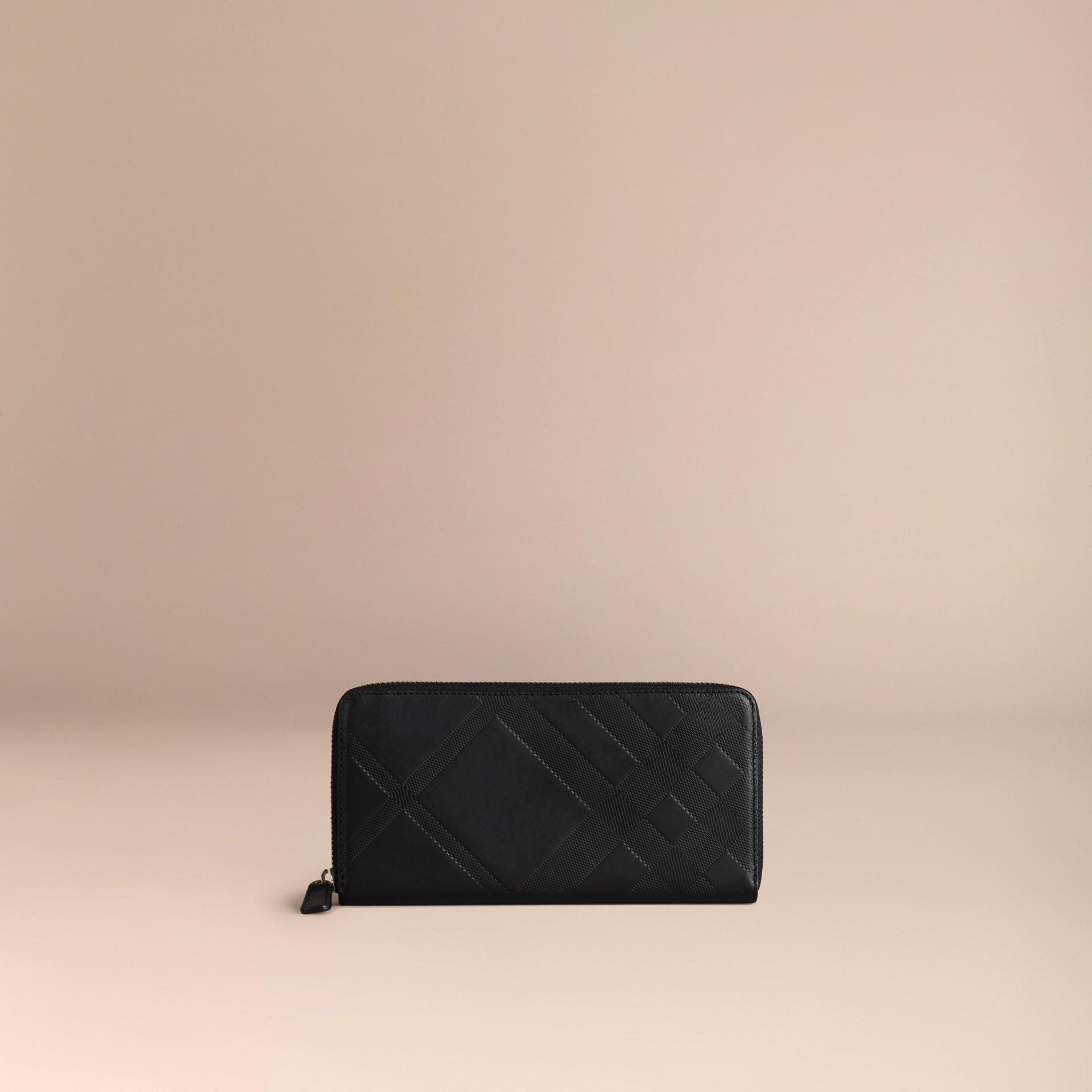 Noir Portefeuille zippé en cuir à motif check estampé Noir - photo de la galerie 3