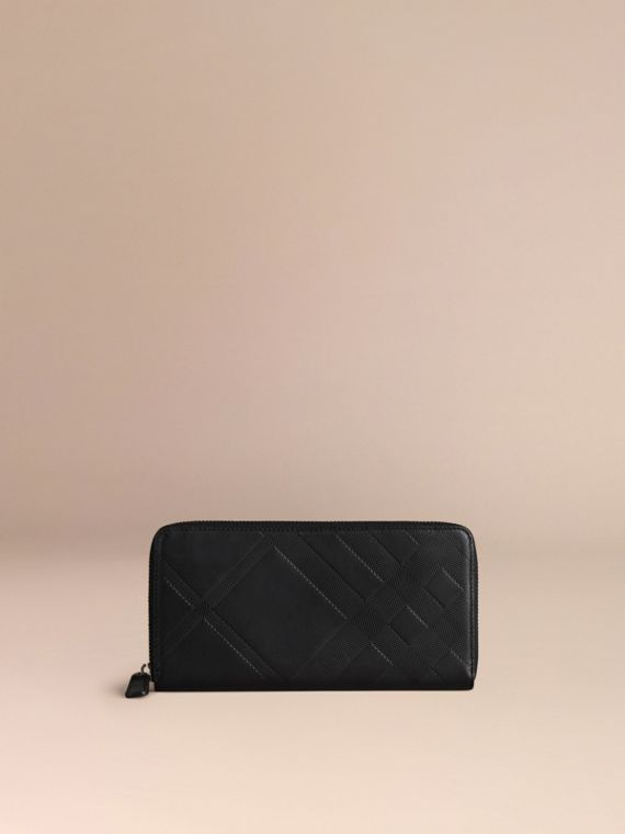 Black Check-embossed Leather Ziparound Wallet Black - cell image 2