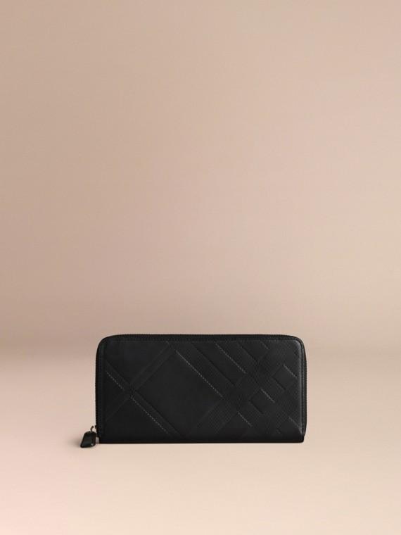 Noir Portefeuille zippé en cuir à motif check estampé Noir - cell image 2