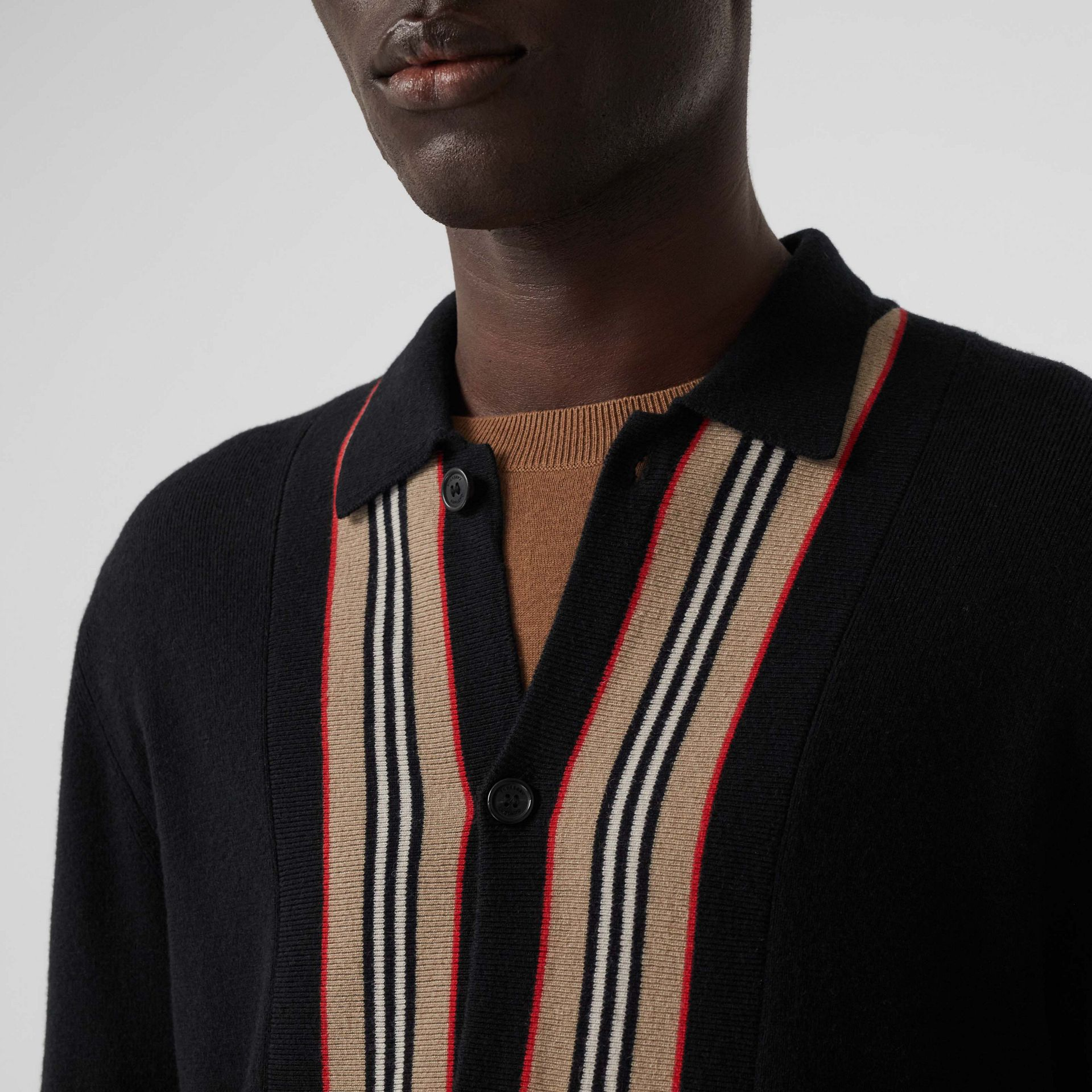 Icon Stripe Trim Wool Cashmere Cardigan in Black - Men | Burberry - gallery image 1