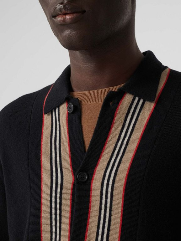 Icon Stripe Trim Wool Cashmere Cardigan in Black - Men | Burberry - cell image 1