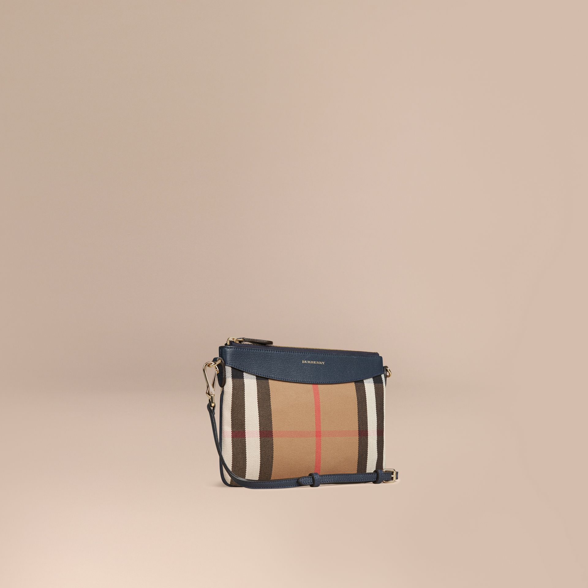 House Check and Leather Clutch Bag in Ink Blue - Women | Burberry - gallery image 1