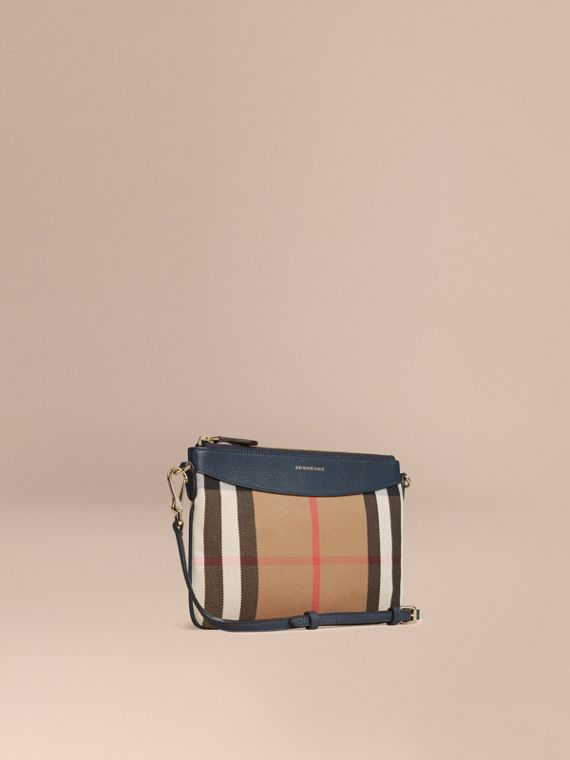 House Check and Leather Clutch Bag in Ink Blue
