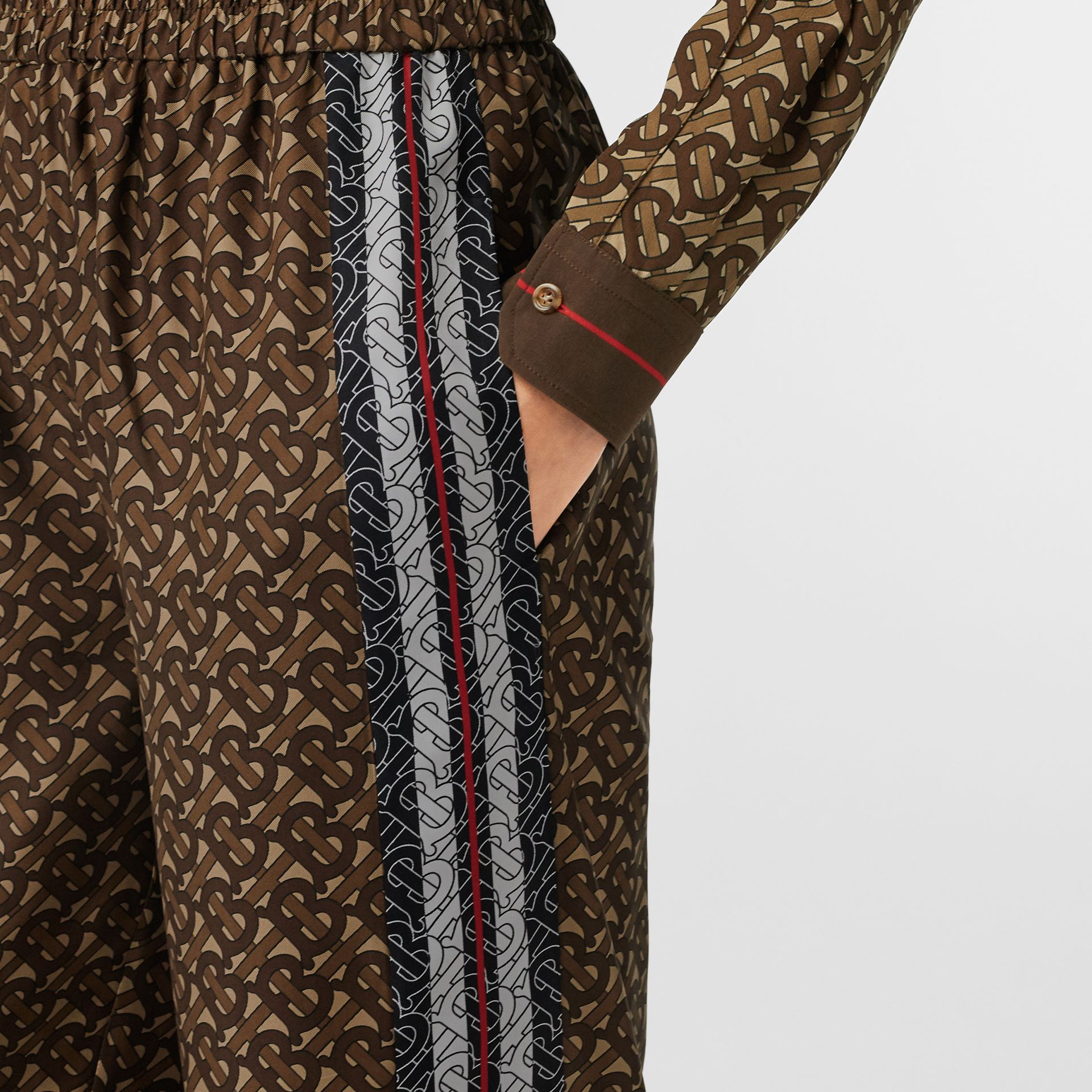 Monogram Stripe Print Silk Trousers in Bridle Brown - Women | Burberry - gallery image 1
