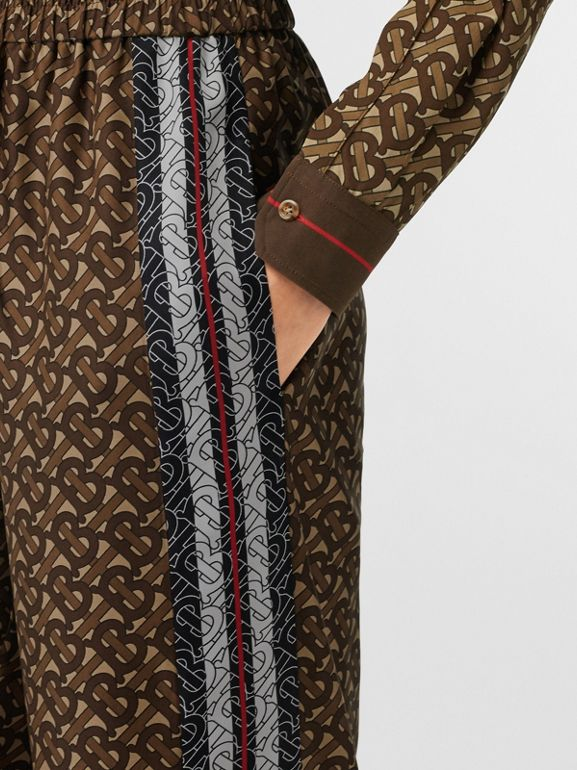 Monogram Stripe Print Silk Trousers in Bridle Brown - Women | Burberry United Kingdom - cell image 1
