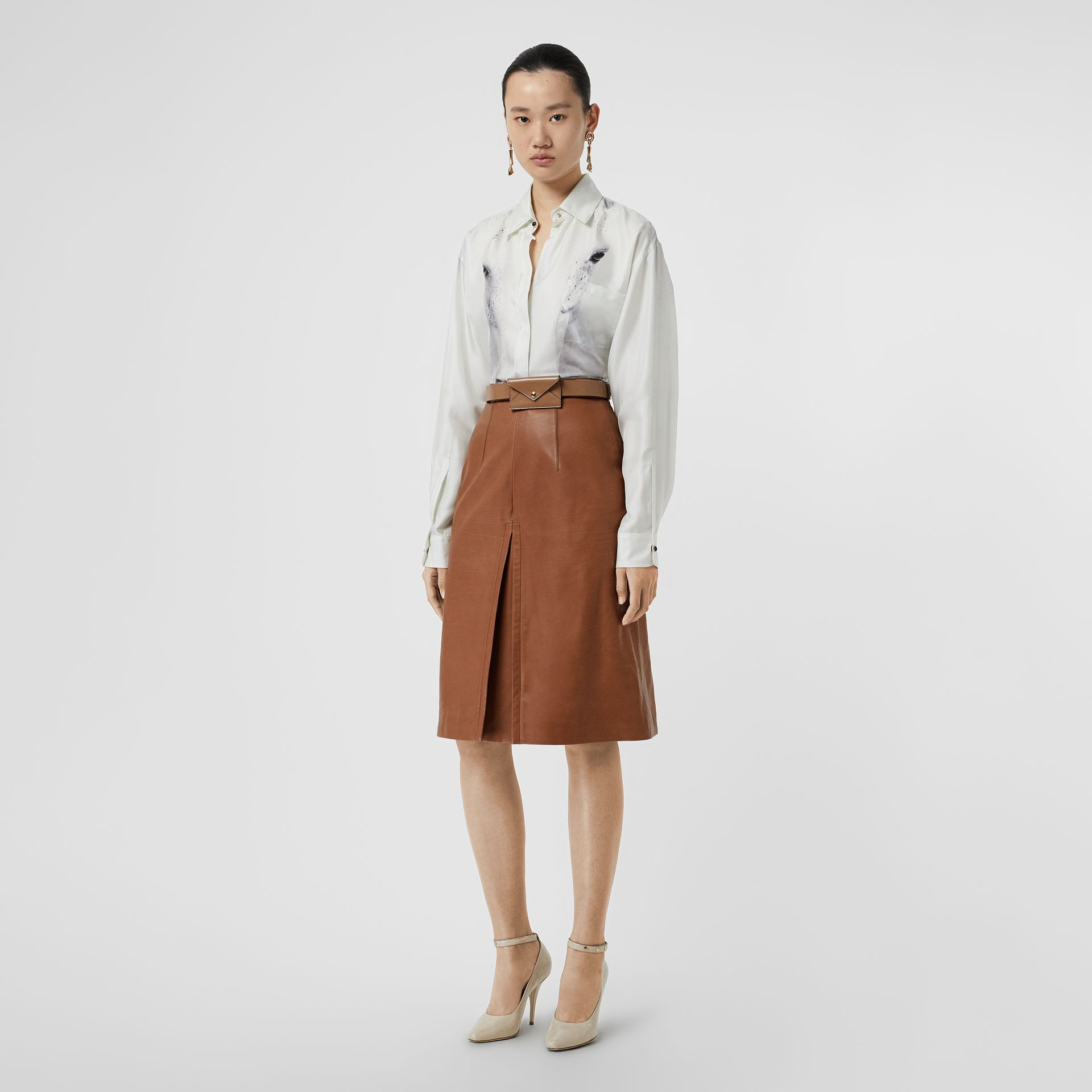Box Pleat Detail Leather A-line Skirt in Flaxseed - Women | Burberry - gallery image 0