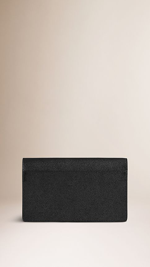 Black London Leather Wrist-Strap Wallet - Image 2