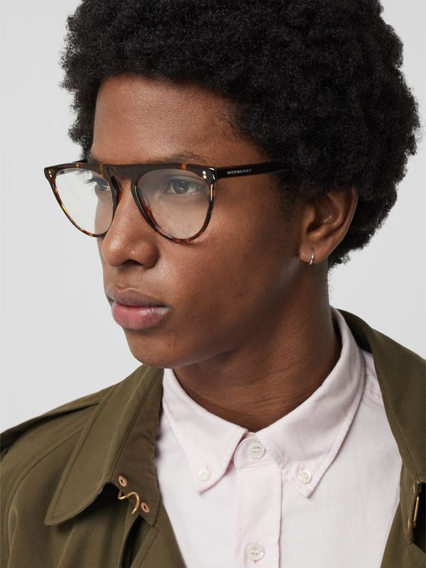 Keyhole D-shaped Optical Frames in Tortoise Shell - Men | Burberry - cell image 2