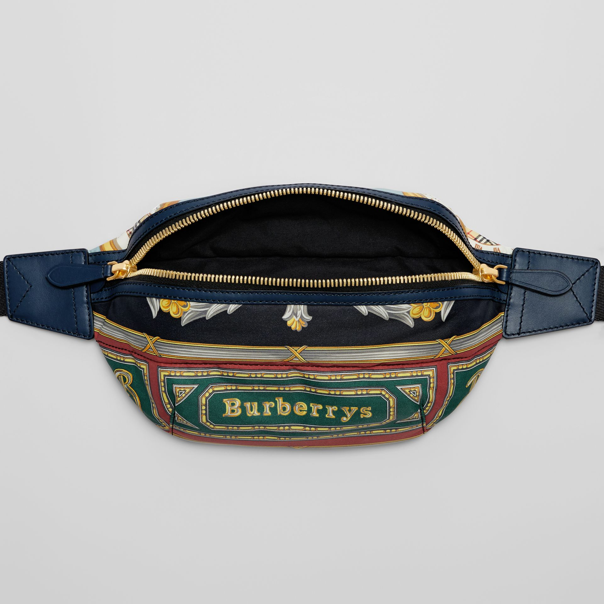 Medium Archive Scarf Print Bum Bag in Forest Green | Burberry - gallery image 5