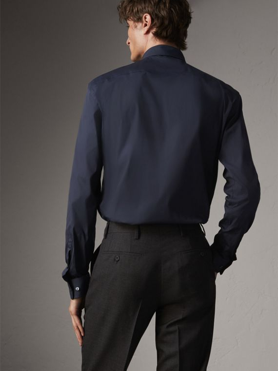 Modern Fit Stretch Cotton Shirt in Navy - Men | Burberry - cell image 2
