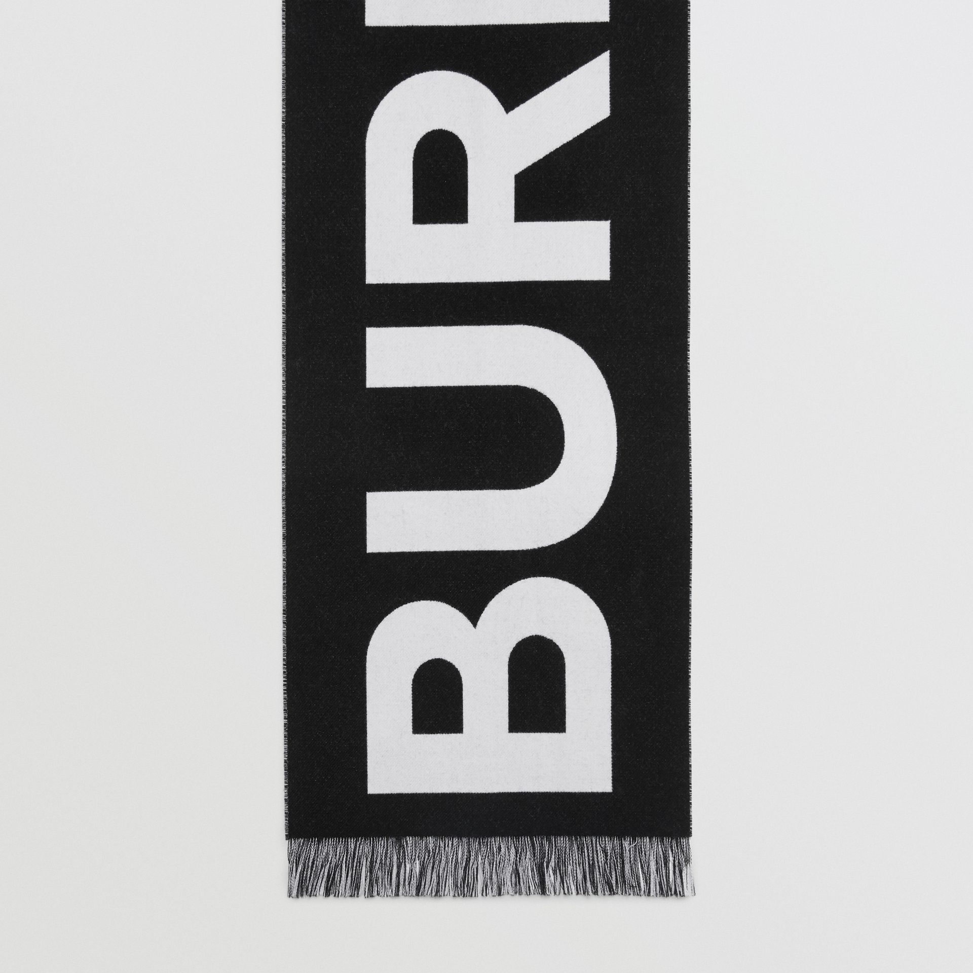 Logo Wool Scarf in Black/white | Burberry United Kingdom - gallery image 4
