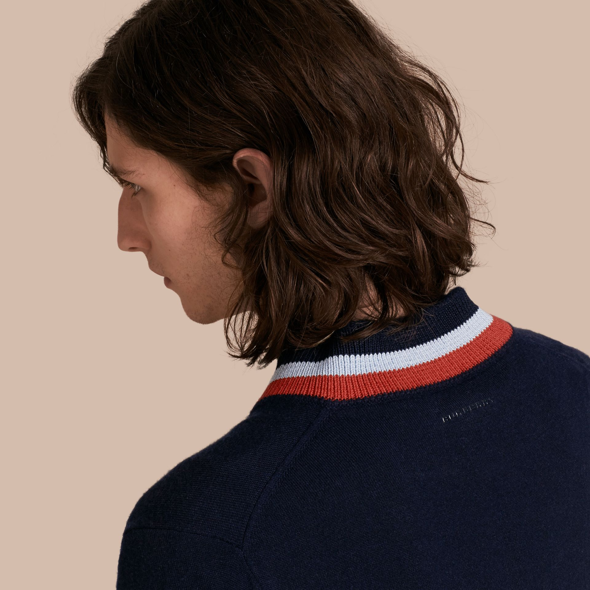 Navy Knitted Cashmere Bomber Jacket - gallery image 5
