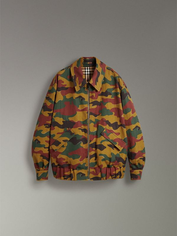 Ramie-cotton Reversible Harrington Jacket in Green Ochre | Burberry - cell image 3