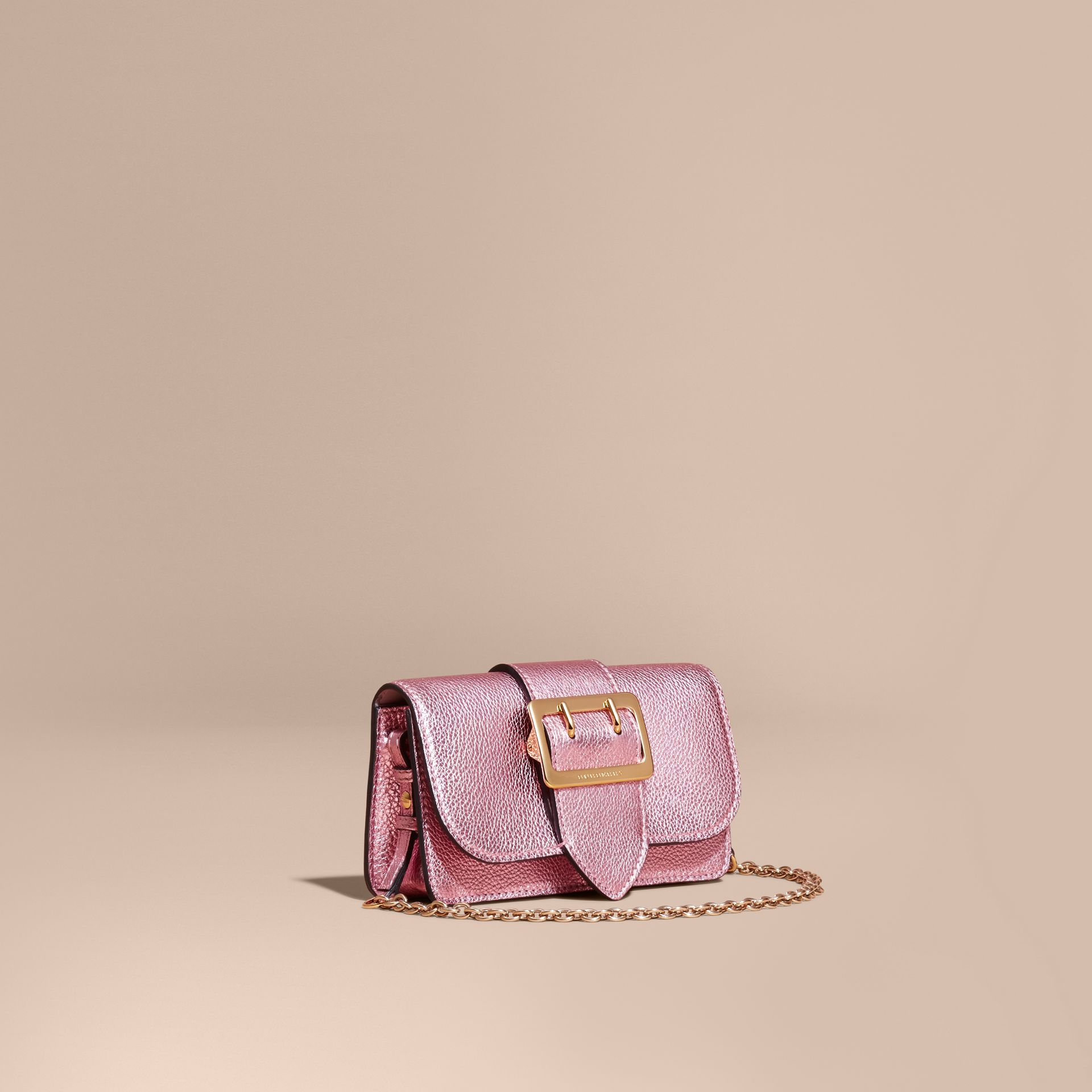 The Mini Buckle Bag in Metallic Grainy Leather in Pale Orchid - gallery image 1