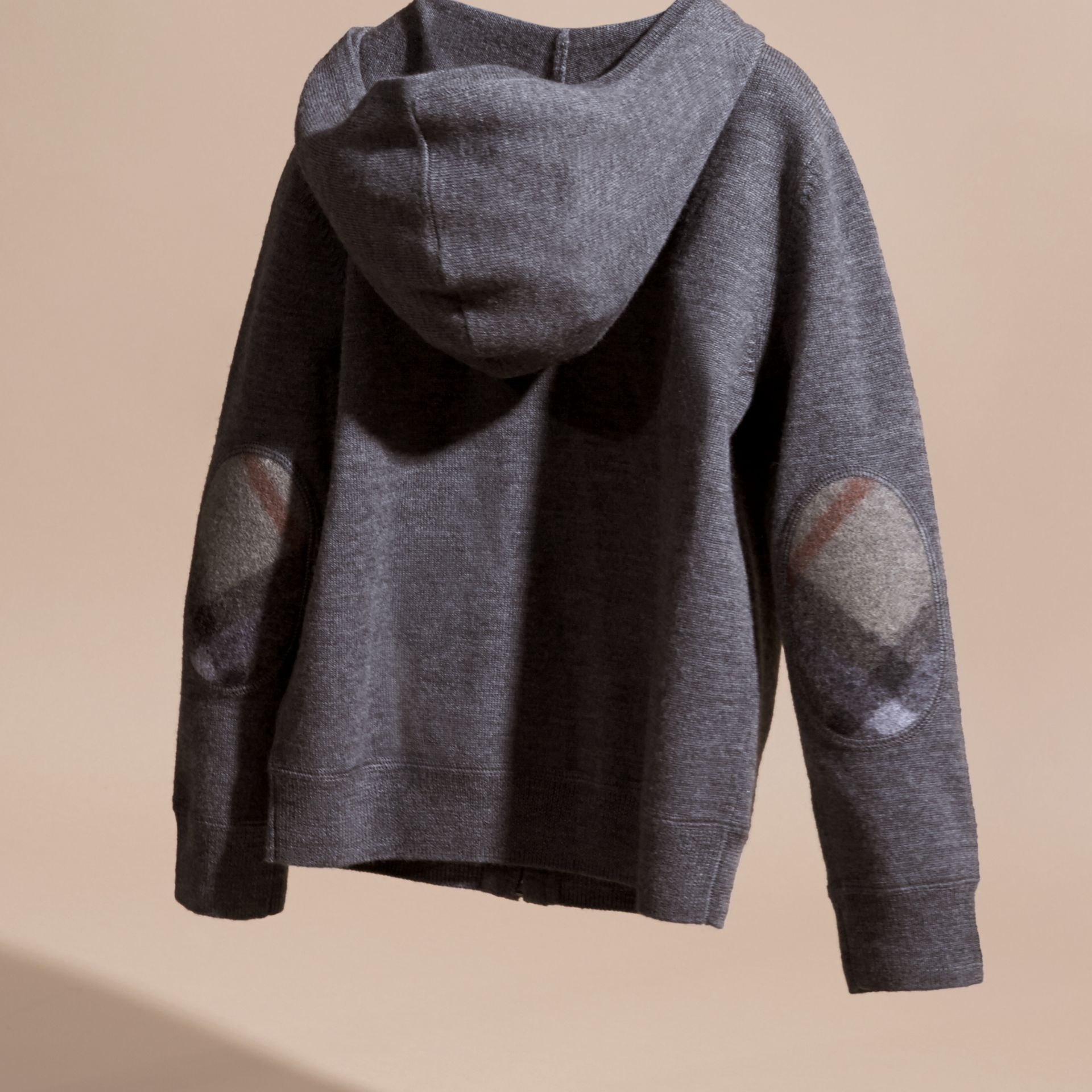 Check Trim Merino Wool Hooded Top in Mid Grey Melange - Boy | Burberry United States - gallery image 3