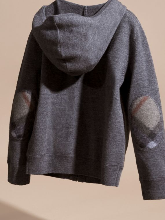 Check Trim Merino Wool Hooded Top in Mid Grey Melange - Boy | Burberry - cell image 3