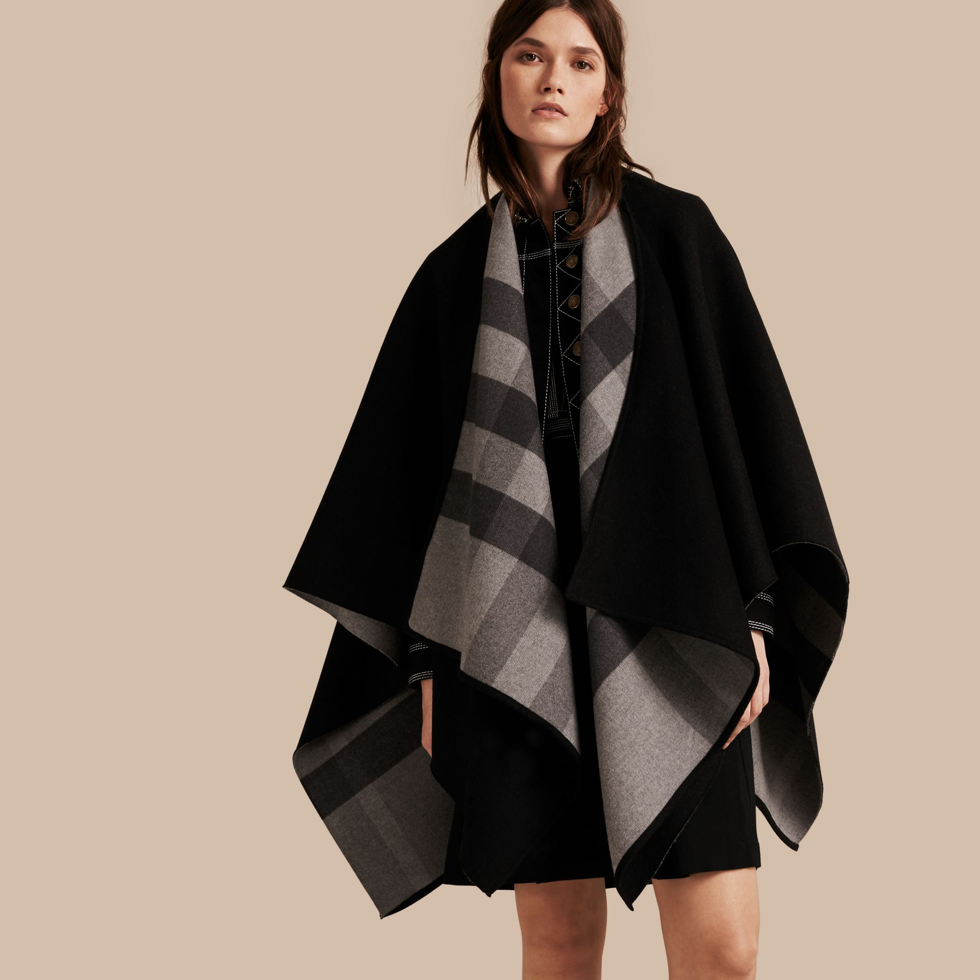 Reversible Check Merino Wool Poncho in Charcoal - gallery image 1