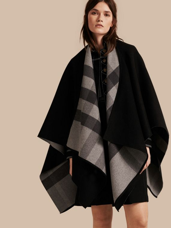 Reversible Check Merino Wool Poncho Charcoal