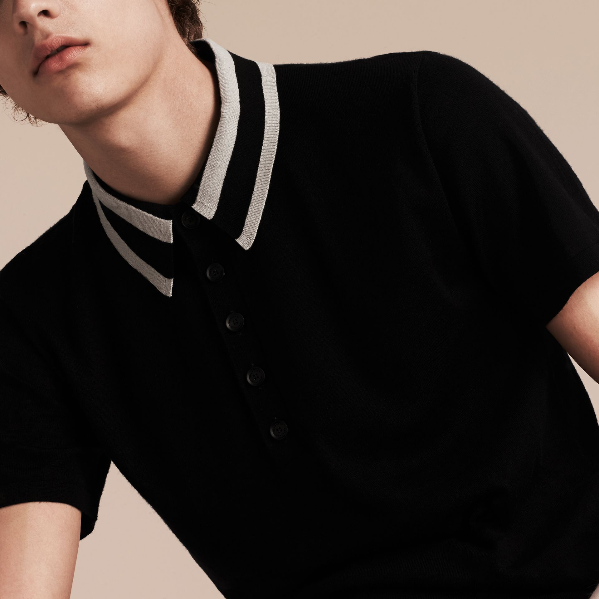 Black/white Striped Collar Wool Blend Polo Shirt - gallery image 5