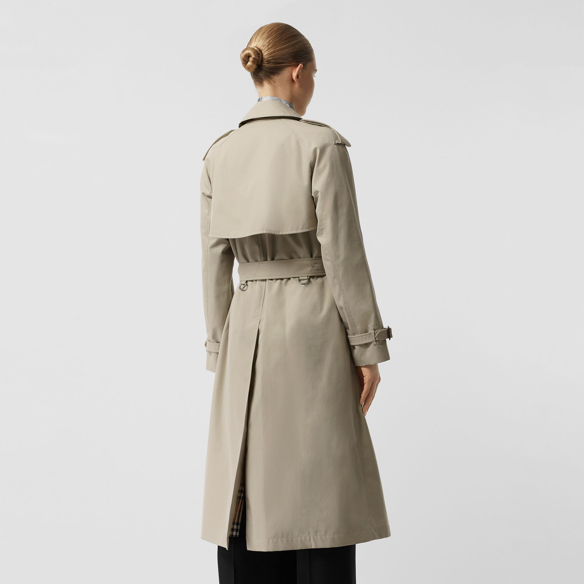 Grommet Detail Cotton Gabardine Trench Coat in Stone - Women | Burberry - gallery image 2