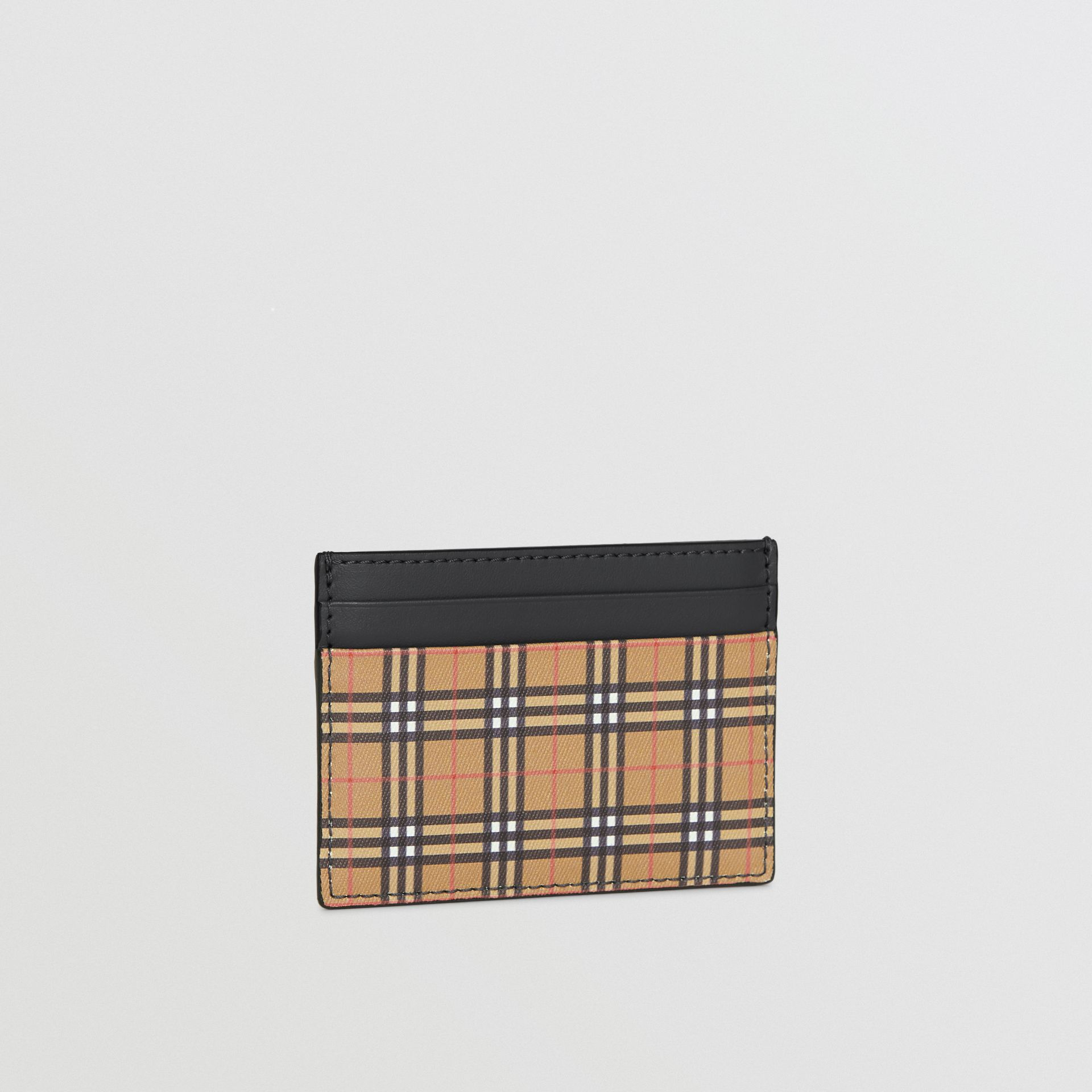 Vintage Check and Leather Card Case in Antique Yellow/dark Grey - Men | Burberry - gallery image 4