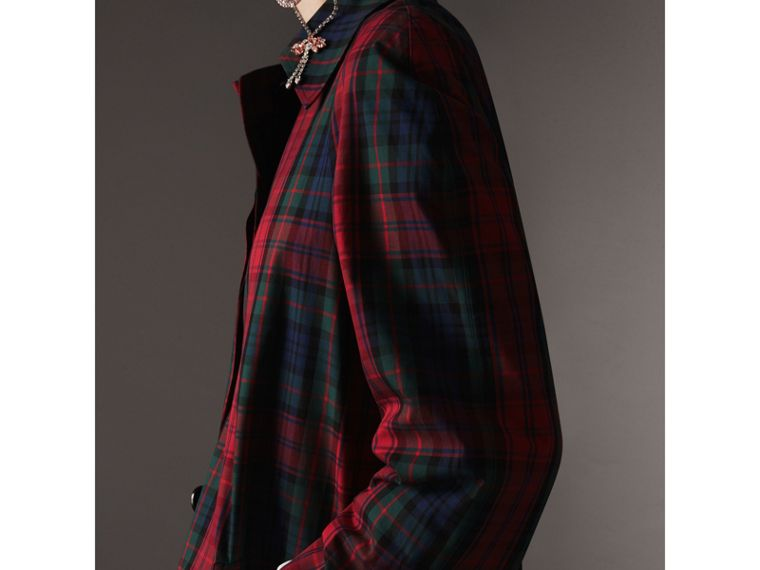 Tartan Cotton Gabardine Car Coat in Bright Red - Women | Burberry - cell image 1