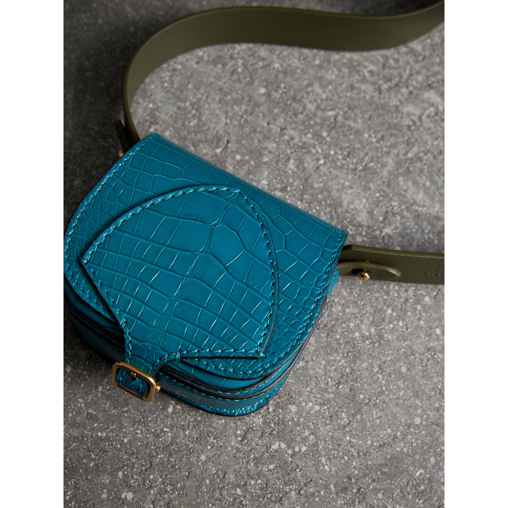 The Pocket Satchel in Alligator in Dark Teal - Women | Burberry - gallery image 6