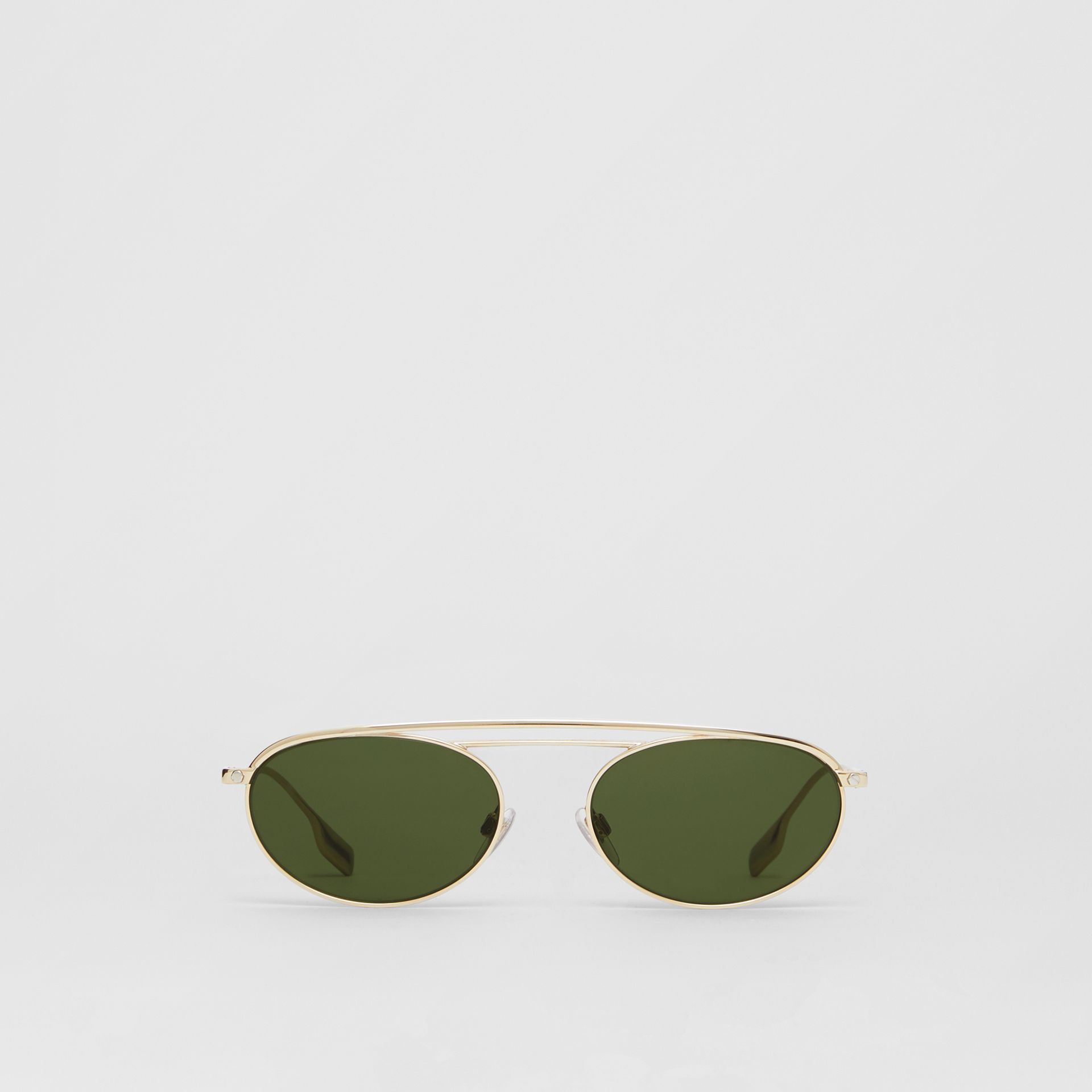 Oval Frame Sunglasses in Green - Women | Burberry - gallery image 0