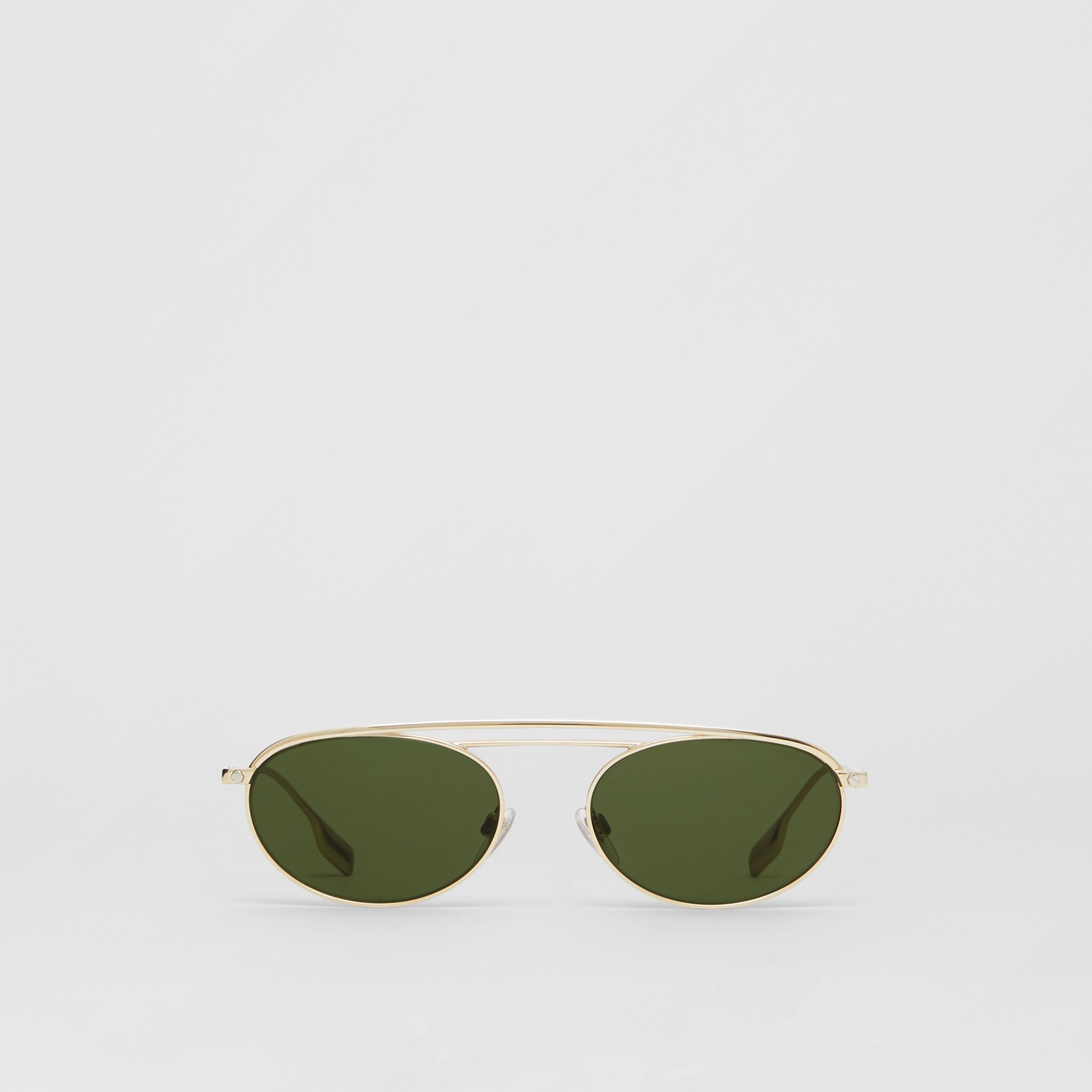 Oval Frame Sunglasses in Green - Women | Burberry - 1