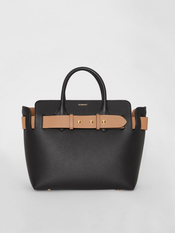 The Small Leather Triple Stud Belt Bag in Black