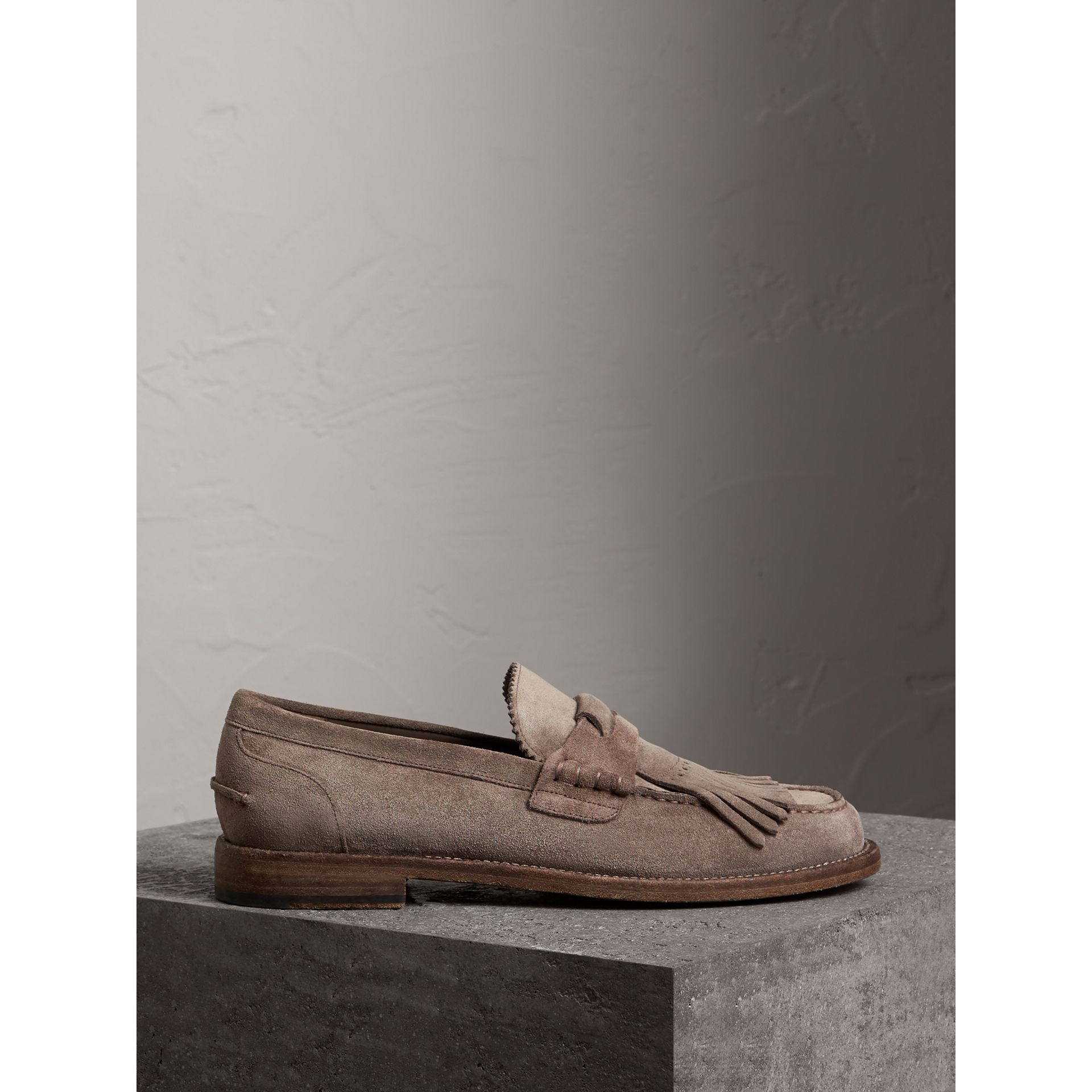 Kiltie Fringe Suede Loafers in Steel Grey - Men | Burberry - gallery image 4