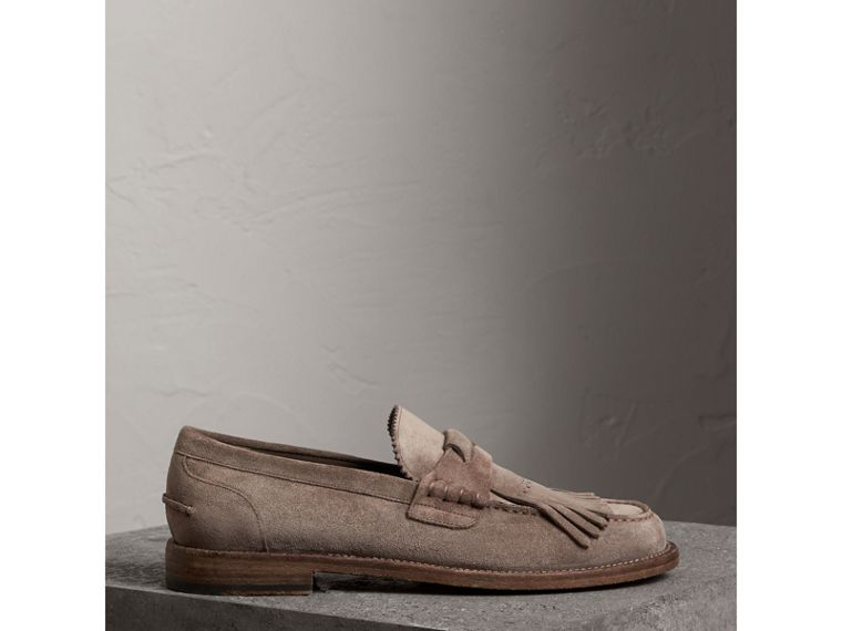 Kiltie Fringe Suede Loafers in Steel Grey - Men | Burberry - cell image 4