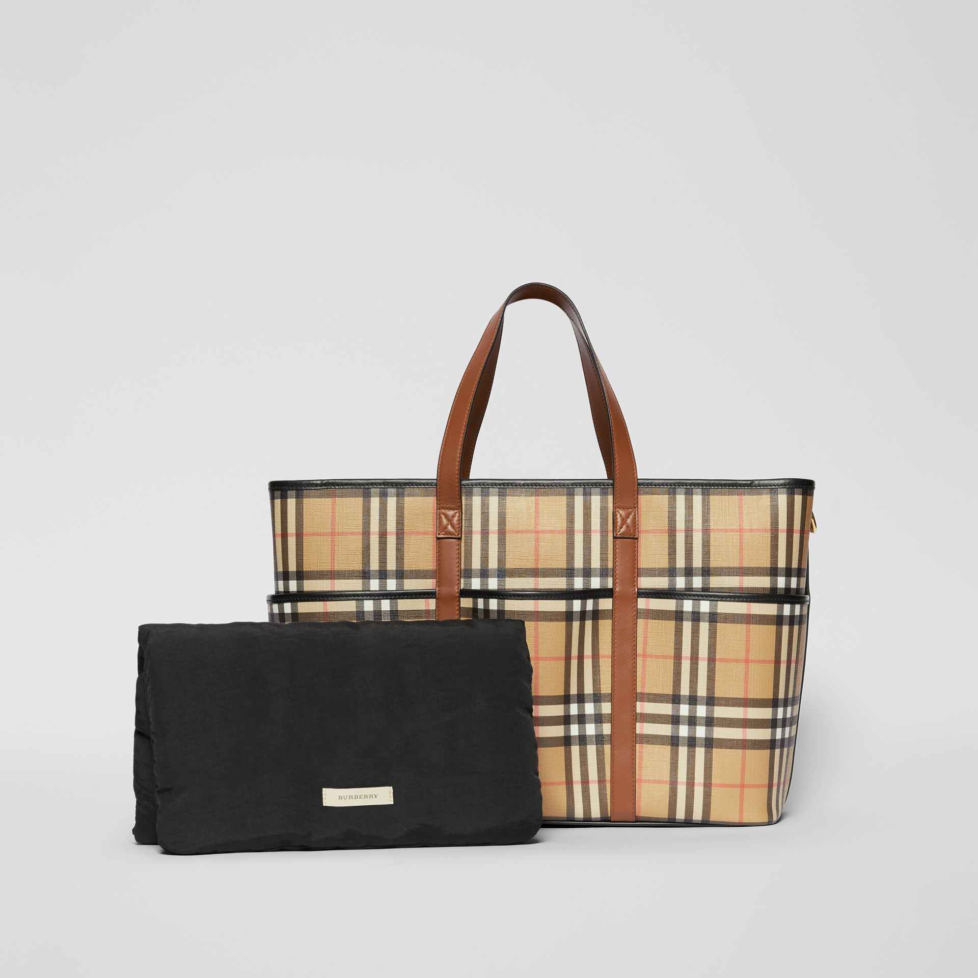 Vintage Check E-canvas Baby Changing Bag in Archive Beige - Children | Burberry United States - gallery image 6