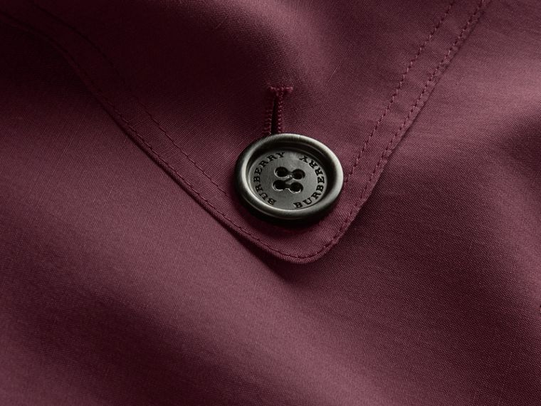 Burgundy Oversize Silk Trench Coat with Puff Sleeves Burgundy - cell image 1