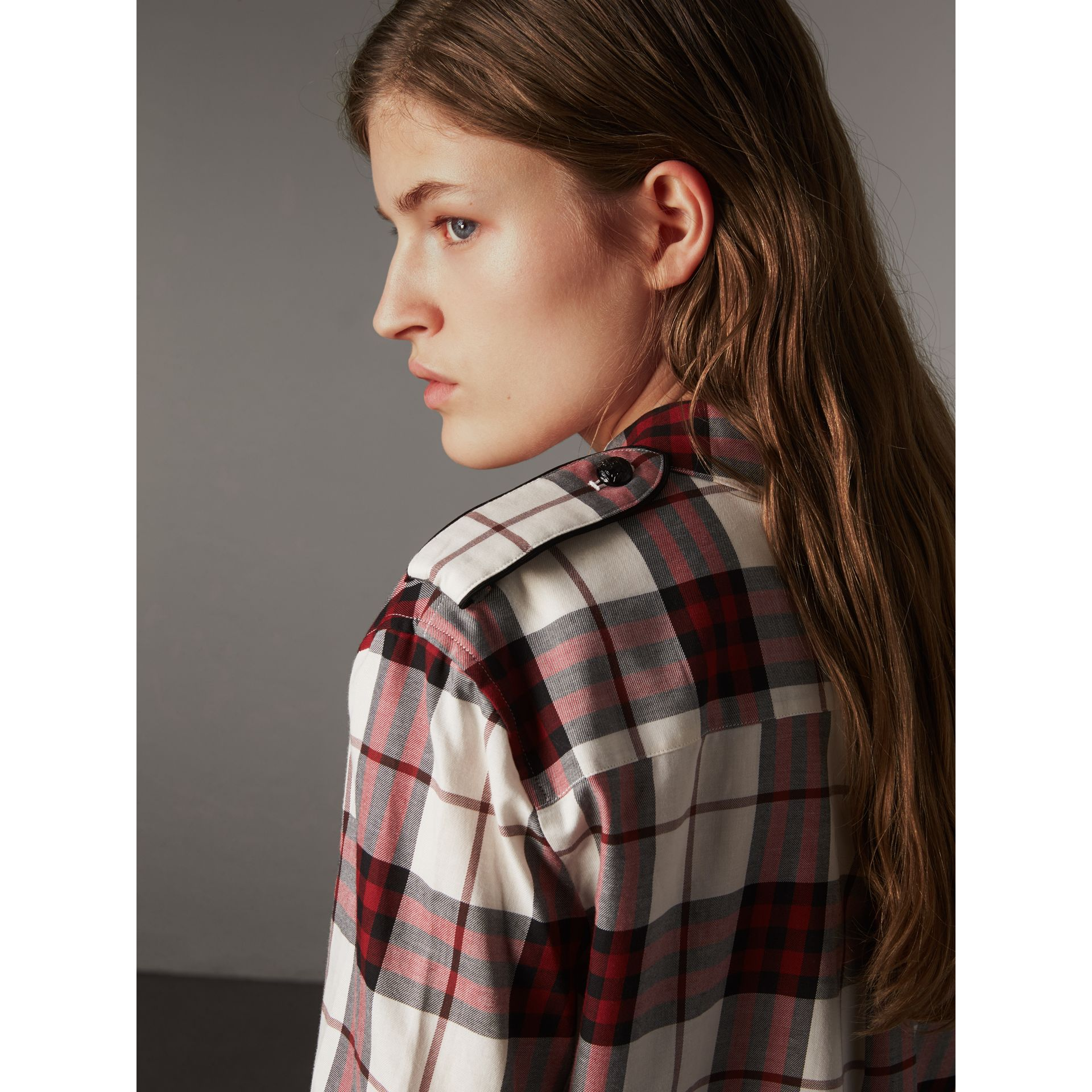 Check Cotton Flannel Military Shirt in Crimson Red - Women | Burberry - gallery image 1