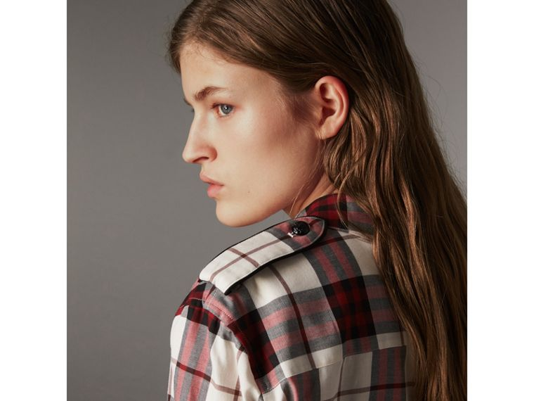 Check Cotton Flannel Military Shirt in Crimson Red - Women | Burberry - cell image 1