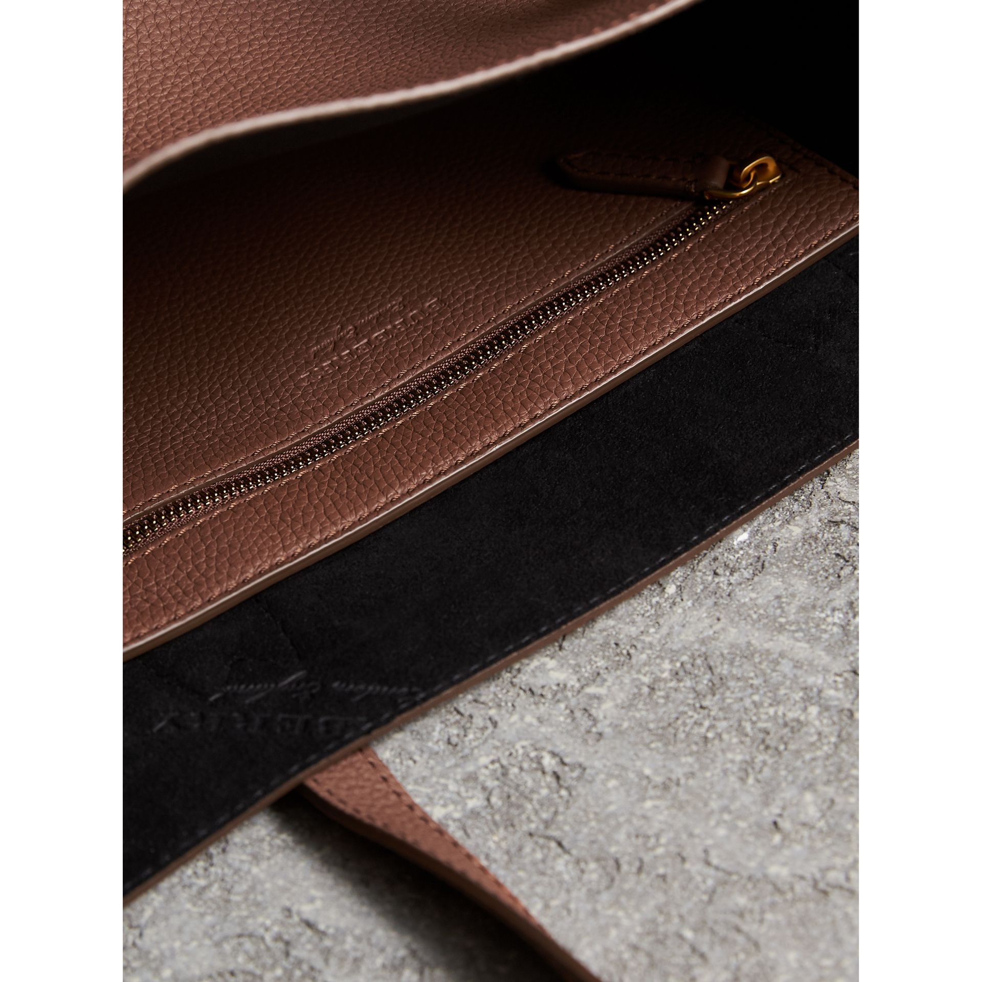 Large Embossed Leather Tote in Chestnut Brown | Burberry - gallery image 6
