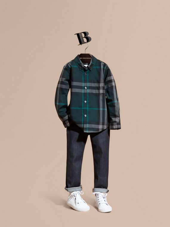 Check Cotton Button-Down Shirt Racing Green