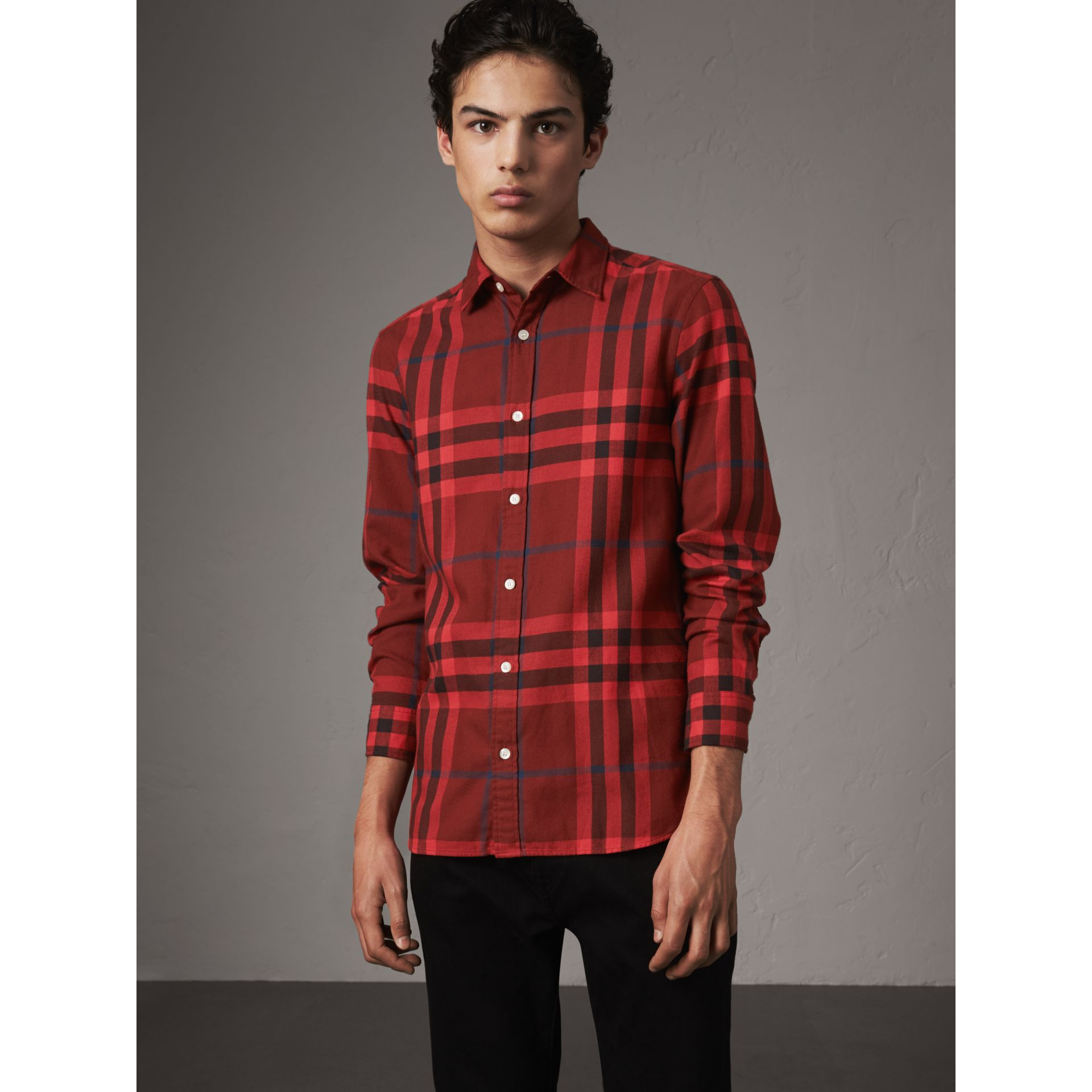 Check Cotton Flannel Shirt in Mahogany Red - Men | Burberry Australia - gallery image 5