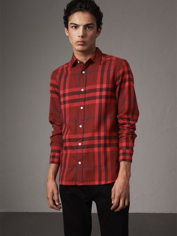 Check Cotton Flannel Shirt in Mahogany Red