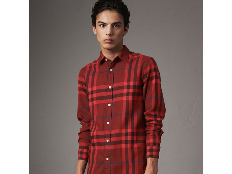 Check Cotton Flannel Shirt in Mahogany Red - Men | Burberry Hong Kong - cell image 4