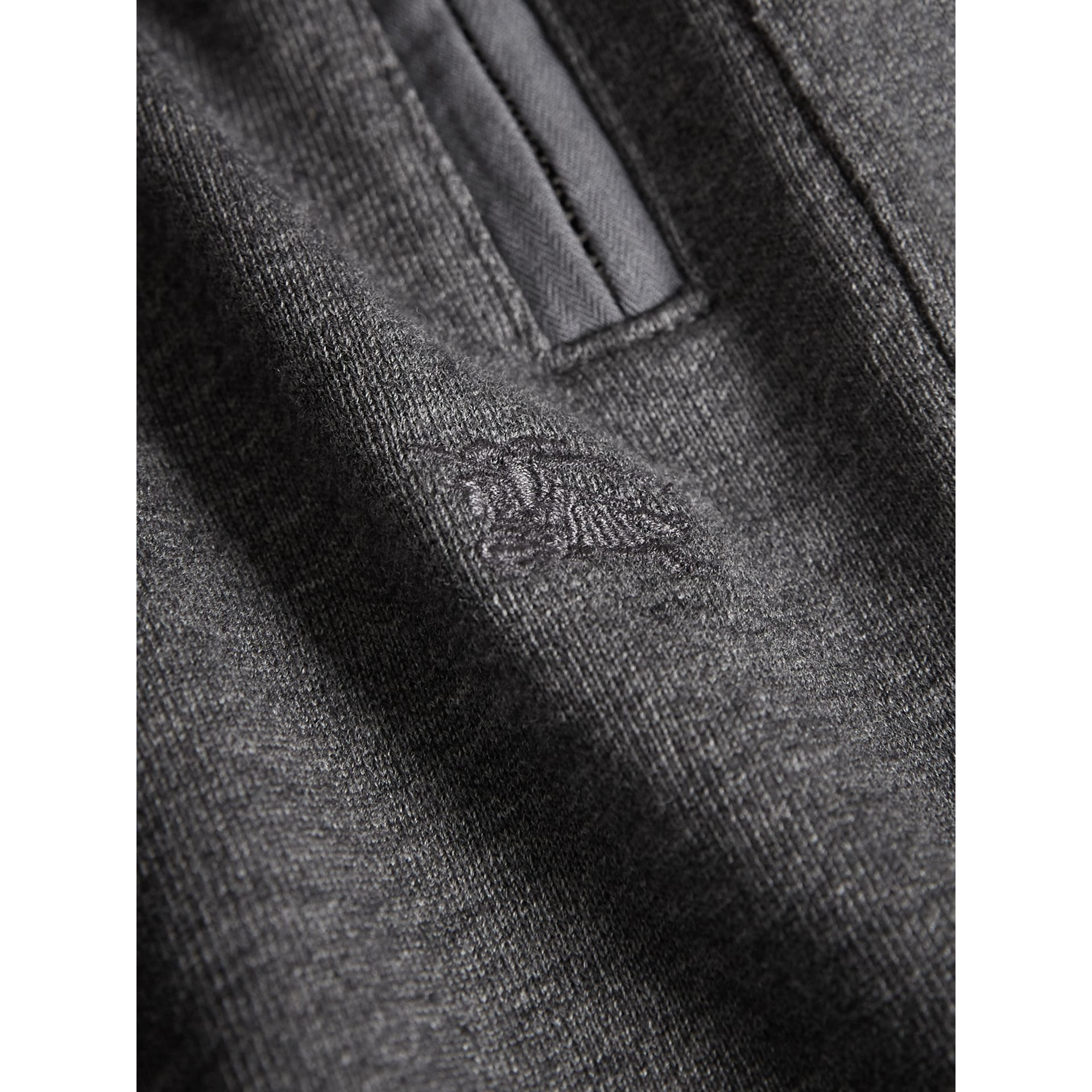 Drawcord Cotton Sweatpants in Charcoal Melange | Burberry - gallery image 1