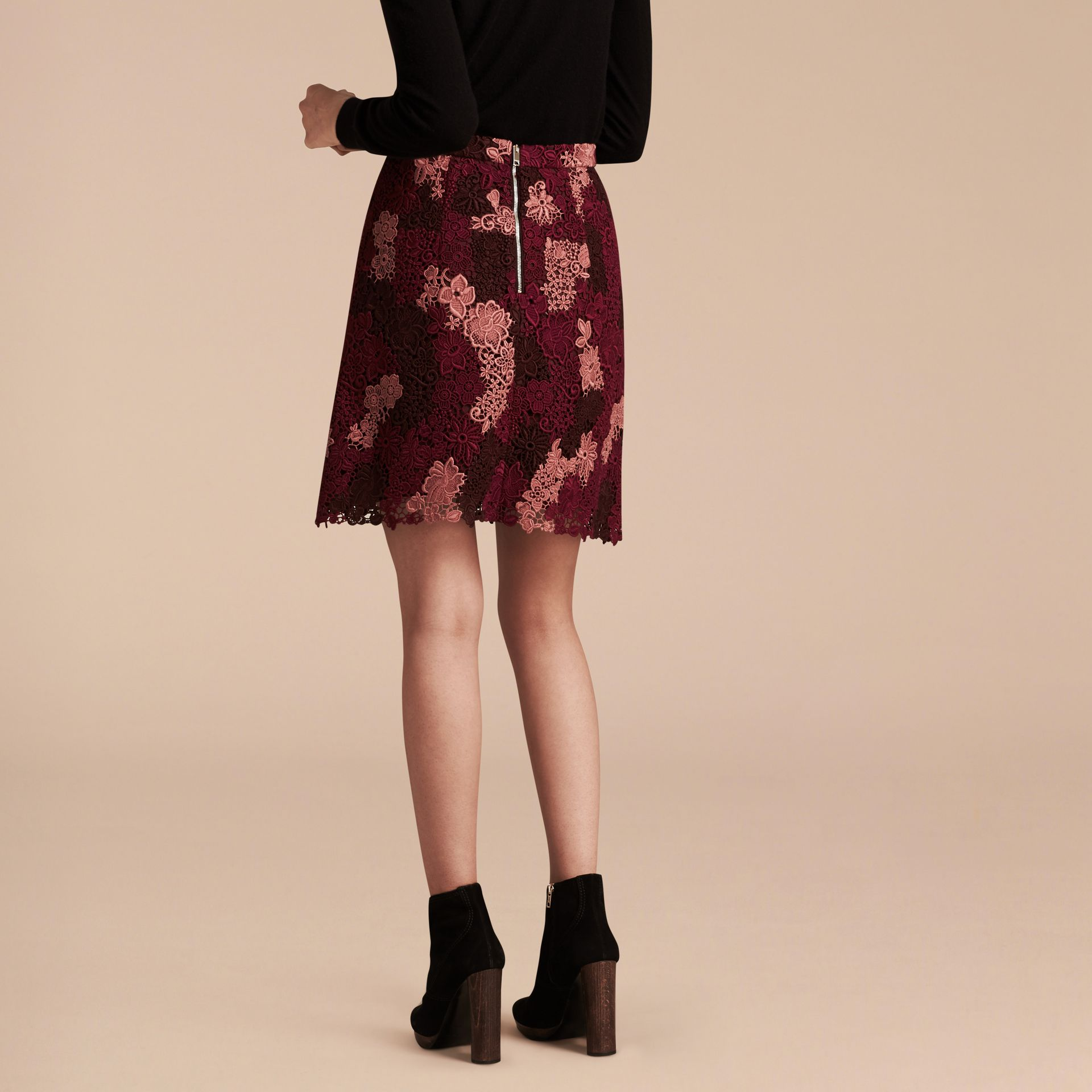 Deep claret Floral Italian Macramé Lace Skirt - gallery image 3