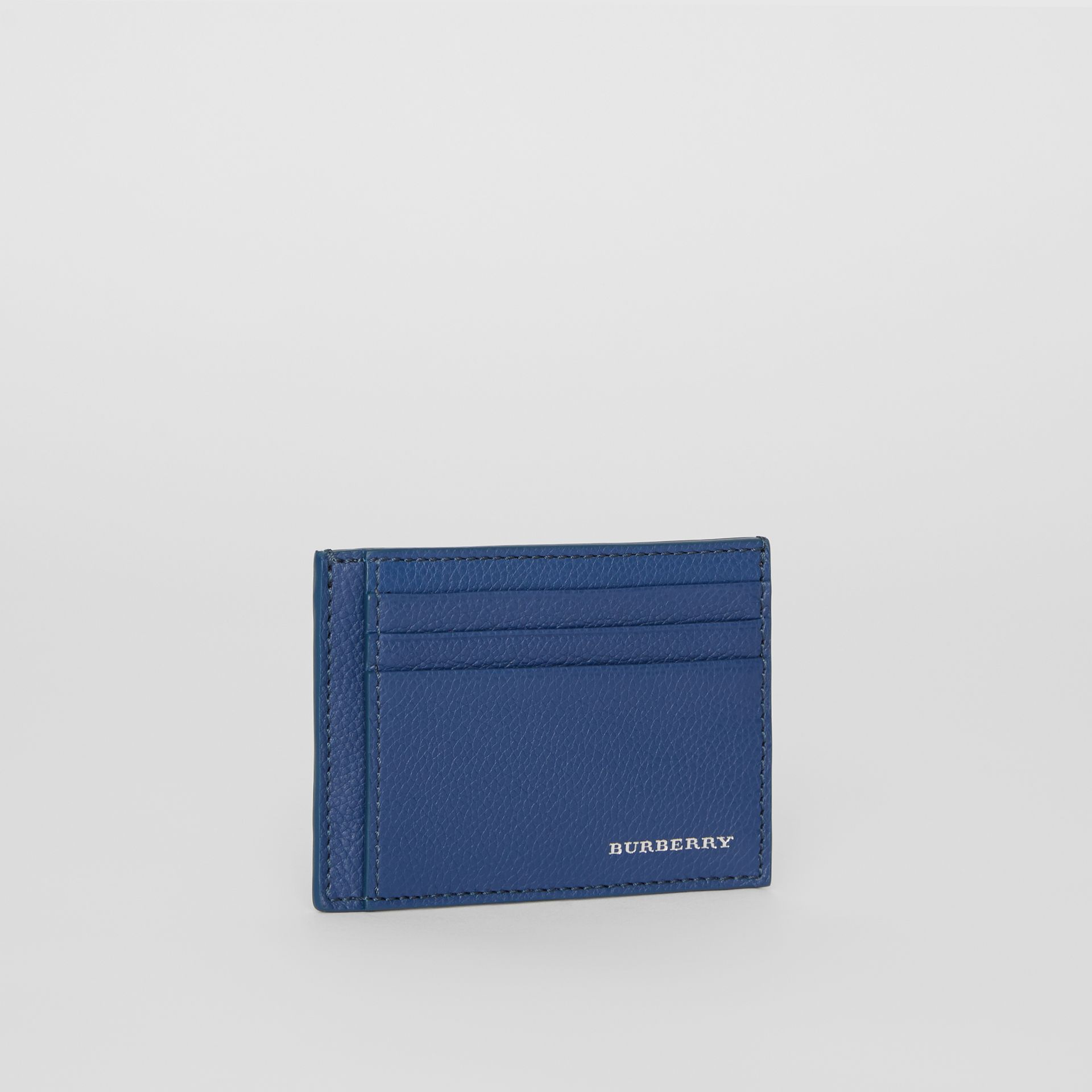 Grainy Leather Money Clip Card Case in Bright Ultramarine - Men | Burberry United States - gallery image 4