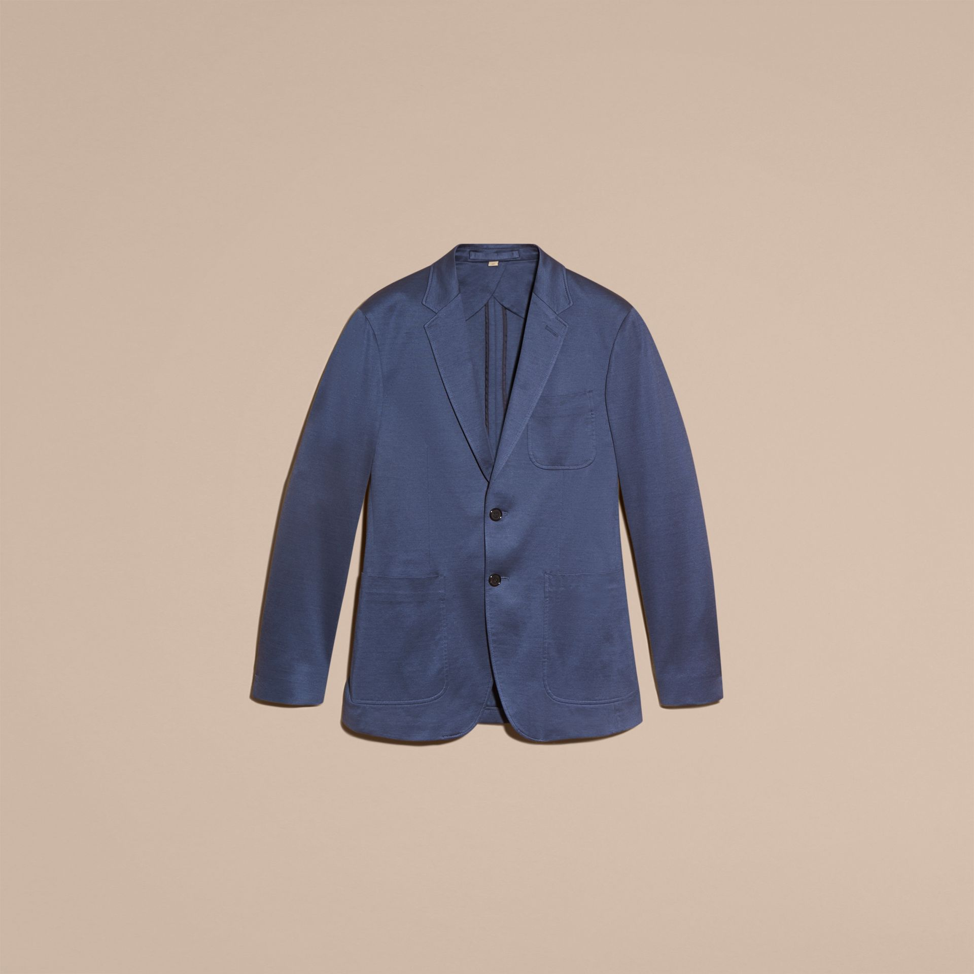 Mineral blue Slim Fit Tailored Cotton Jacket Mineral Blue - gallery image 4